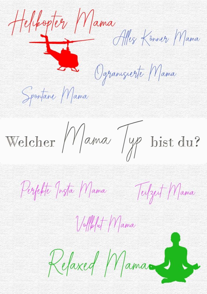 Mama Typen gelistet in Schreibschrift als Infografik